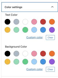 Gutenberg's default color settings